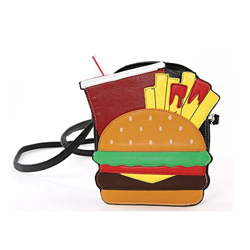 Yummy Hamburger Fries and Soda Shoulder Crossbody Bag Black