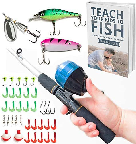 Tight Lines Kids Fishing Pole Combo Set All-in-One Youth Fishing Kit Includes Collapsible Rod, Spincast Reel, Tackle Box, Travel Bag, and eBook Perfect Fishing Kit Gift for Children