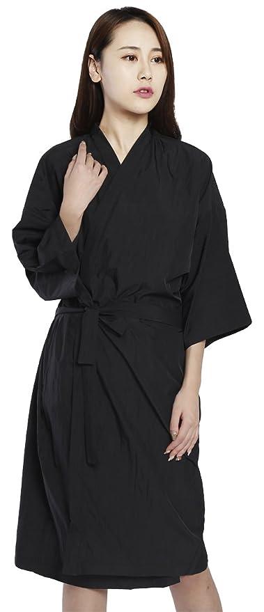 Bata de peluquería para cliente estilo kimono, Capa para peluquería - 109cm de largo (Negro): Amazon.es: Belleza
