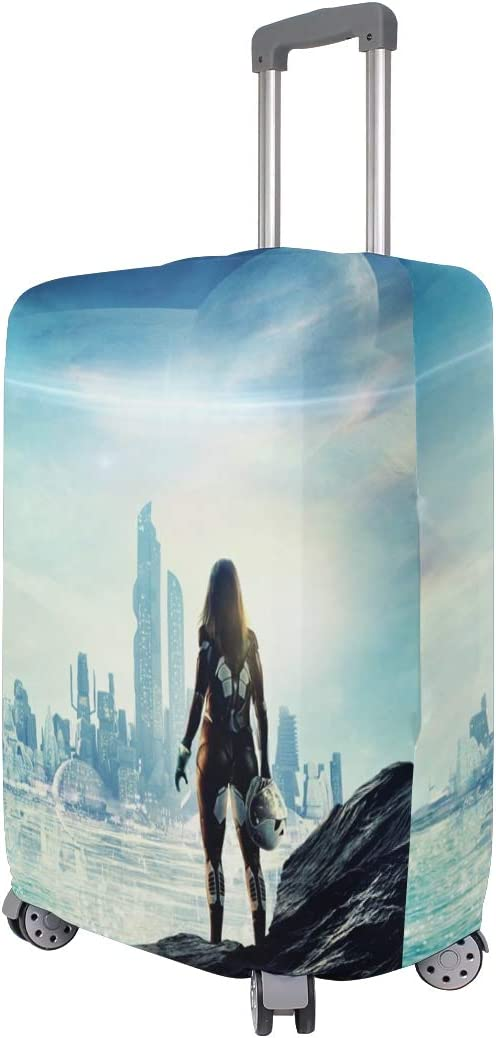 Future Sci Fi City Skyscrapers Sea Girl Planets suitcase cover elastic suitcase cover zipper luggage case removable cleaning suitable for 29-32 trunk cover