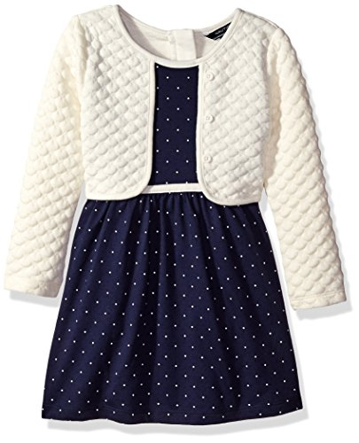 Nautica Little Girls' Toddler Layered Long Sleeve Knit Dress, Navy, 2T (Toddler Fancy Dress)