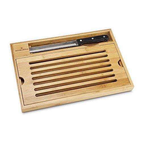 Brot-Schneidebrett mit Krümelfach und Brotmesser aus Edelstahl und Bambus-Holz