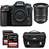 Nikon D500 CMOS DX DSLR Camera w/ 4K Video (Body) + NIKKOR 10-24mm f/3.5-4.5G ED Lens + 2x Lexar 64GB Professional 1000x SDHC/SDXC Class 10 Memory Card + Deluxe DSLR Camera Bag
