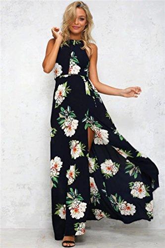 Minetom Mujeres Verano Boho Largo Maxi Vestido De Noche Playa Sundress Moda Sin Mangas Floral Dress Halter Gasa Elegante Cuello Redondo Negro