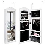 Amoiu Wall-mounted/Door-hung Jewellery Cabinet, Standard-length Cabinet with LED Lights, 6 Storage Racks for Rings, Earrings, Bracelets, Necklaces,Brooches and Cosmetics