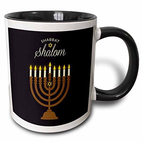 - 3dRose Sven Herkenrath Religion - Shabbat Shalom Hebrew Israel Religion Candles - 11oz Two-Tone Black Mug (mug_280344_4)
