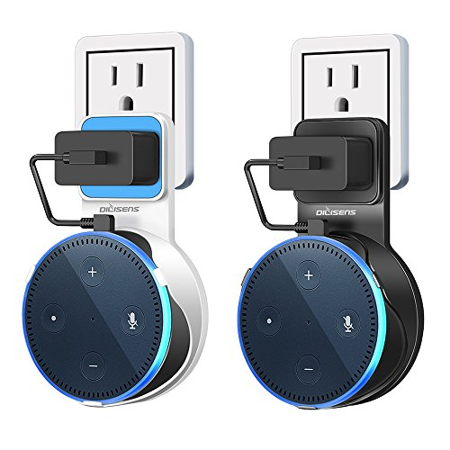 DILISENS Outlet Wall Mount Hanger Holder Stand Bracket for Dot 2nd Generation, Flexible & Space-Saving Echo Dot Accessories for Your Smart Home Speaker, No Messy Wires or Screws (1 White 1 Black)
