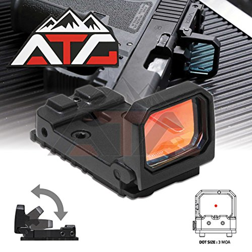 NcSTAR Flip Red Dot Pistol Sight 3 MOA Glock MOS RMR Slide Mounting Plate Adjustable Backup Iron Sights + ATG PVC Rubber Velcro Patch