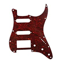 Musiclily HSS 11 Holes Strat Electric Guitar Pickguard for Fender US/Mexico Made Standard Stratocaster Modern Style Guitar Parts,4Ply Red Tortoise