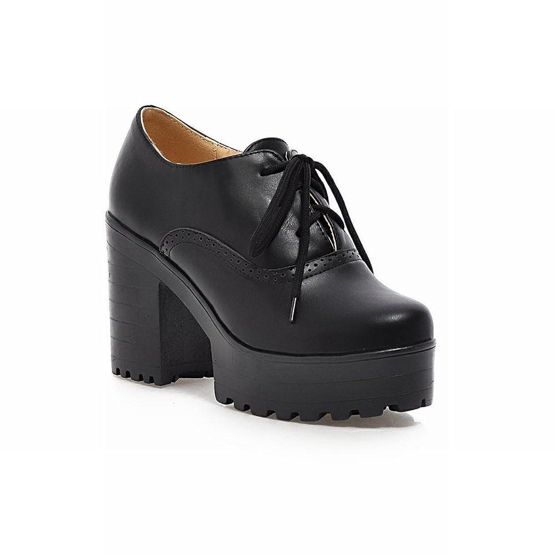 cbec4e1befc8 lovely Carolbar Fashion Women s Vintage Lace-up Retro Platform Chunky High  Heel Oxfords Shoes