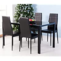 Merax 5PC Glass Top Dining Set 4 Person Dining Table and Chairs Set Kitchen Modern Furniture Dining Dinette (5pcs)