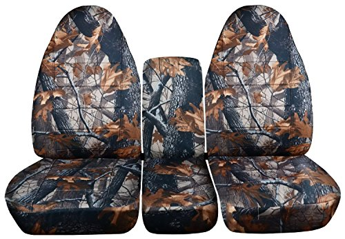 Totally Covers Fits 2002-2005 (3rd Gen) Dodge Ram Camo Truck Seat Covers (40/20/40 Split Bench) with Center Console, w/wo Separate Headrest Covers - Front: Gray Real Tree (16 Prints) 2003 2004
