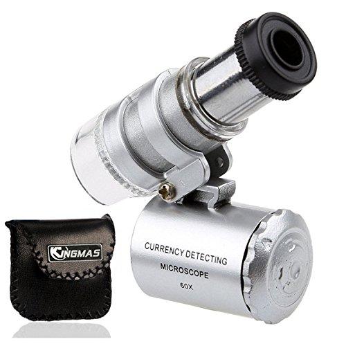 KINGMAS Mini 60x Microscope LED UV Light Pocket Jewelry Magnifier Jeweler Loupe