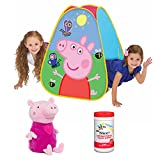 Peppa Pig Classic Hideaway Tent for Kids and Peppa The Pig Plush Piggy Bank with Antibacterial Hand Wipes