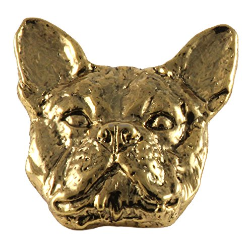 Creative Pewter Designs, French Bulldog Handcrafted Dog Lapel Pin Brooch, 24k Gold Plated, (Pewter Lapel Dog Pin)