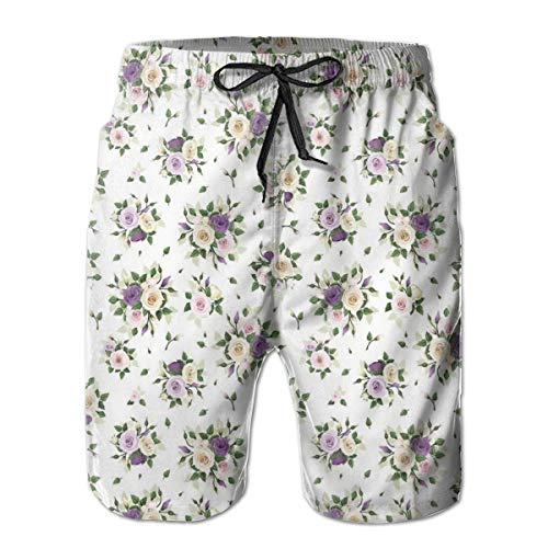 Men Swim Trunks Beach Shorts,Lisianthus Flower Bouquet Wedding Inspired Arrangement Purity and Love Theme L
