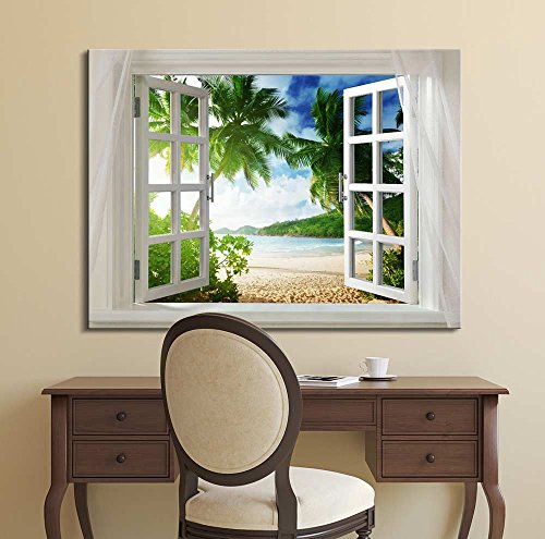 Glimpse into Beautiful Tropical Beach with Palm Trees Out of Open Window ation