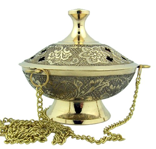 Charcoal Incense Burner Gold Tone over Brass Hanging Censer with Chain (Burner Incense Censer)