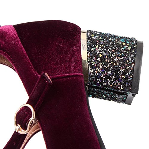 AIYOUMEI Damen Chunky Heel Pumps mit 5cm Absatz Blockabsatz Glitzer Absatzschuhe Weinrot