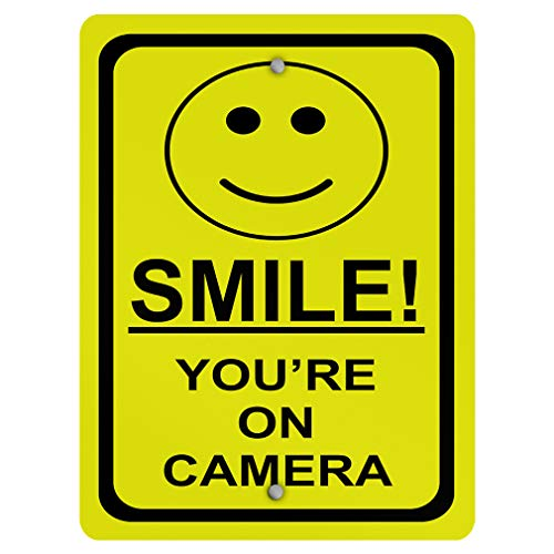 (Aluminum Weatherproof Metal Sign Multiple Sizes Smile! You're On Camera Security 9INx12IN Vertical Street Signs Set of 5)