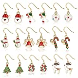 Product review for Christmas Earrings Holiday Jewelry Set gifts for Womens Girls,Thanksgiving Xmas Jewelry Christmas Snowman Snowflake Abduct Deer Gift box Sock Santa Claus Christmas Tree Bell Drop Dangle Earrings(9pcs)