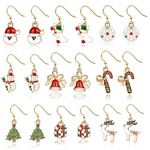 (Christmas Drop Dangle Earrings Jewelry Set for Thanksgiving Womens Girls Kids Including Christmas Snowman Snowflake Abduct Deer Gift box Sock Santa Claus Christmas Tree Bell Earrings)