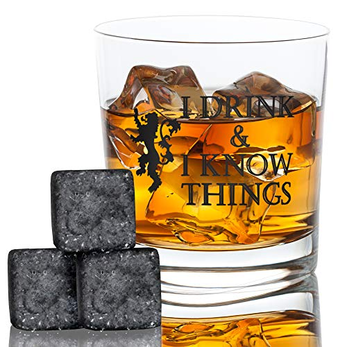 I Drink and I Know Things Whiskey Glass + FREE Whiskey Stones - Bourbon Scotch - Game Of Thrones Inspired - Funny Novelty - With Prestigious Package Gift - By -
