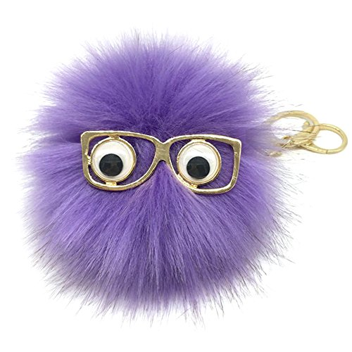 BAOBAO Cute Sunglasses Rabbit Fur Fluffy PomPom Ball Pendant Keychain Car - Keychain Sunglasses