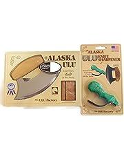 Alaska Ulu Knife Bundle With Ulu Knife Sharpener, This Ulu Knife Can Be Used As Mezzaluna Chopper, Bolo Rolling Knife And Chopped Salad Tool.