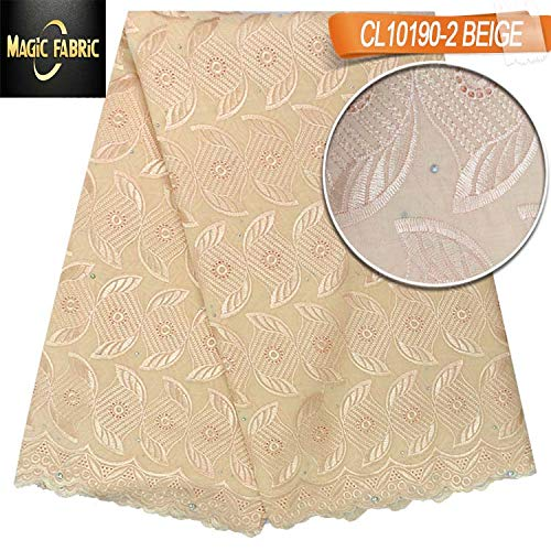 Laliva Swiss Voile lace Cotton Fabric African Lace Fabric with Stones for Dress Wedding CL10190 - (Color: Yellow) by Laliva (Image #3)