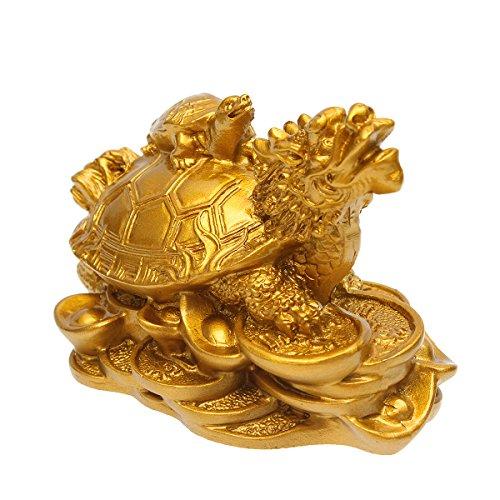 (GGGarden GGGarden Resin Statue Decoration Feng Shui Dragon Turtle Tortoise Gold Coin Money Wealth Figurine)