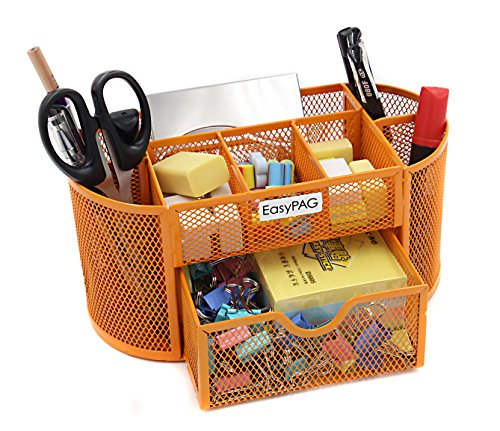 EasyPAG Desk Organizer 9 Components Mesh Office Desktop Office Supplies Set with Drawer ,Orange