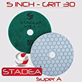 Stadea PPD101N 5'' Dry Diamond Polishing Pads for Concrete Travertine Marble Terrazzo Floor Edges Polishing - Grit 30, Series Super C