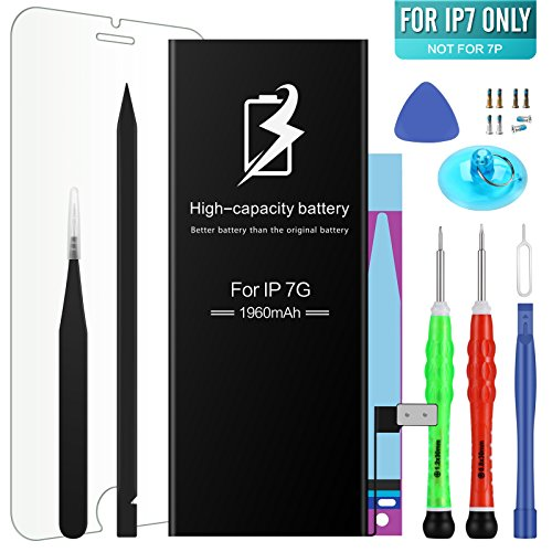 High Energy Li-ion Battery Model iPhone 7 - With Repair Tool Kits & Instructions - High-Capacity 1960 mAh 0 Cycle Replacement Batter - 1 Year Warranty (Battery Capacity High Kit)