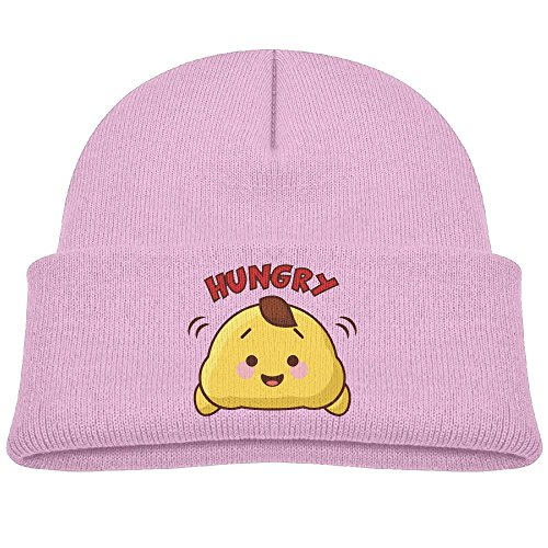 Hinanqugu Baby Cartoon Hungry Unisex Winter Warm Knit Hat Cute Soft Stretch Lined Beanie Cap Pink