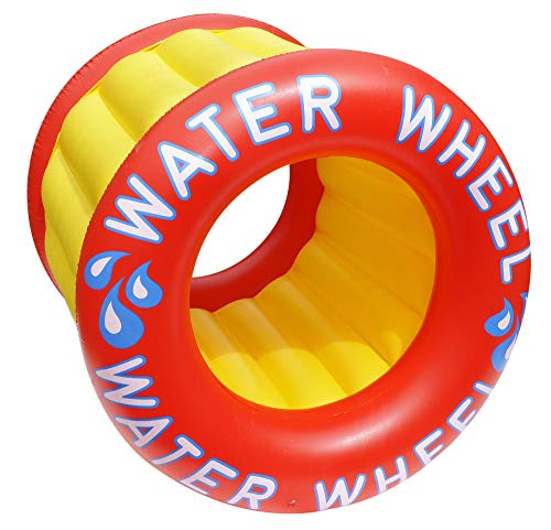 Inflatable Red and Yellow Water Wheel Swimming Pool Raft Toy, 45-Inch