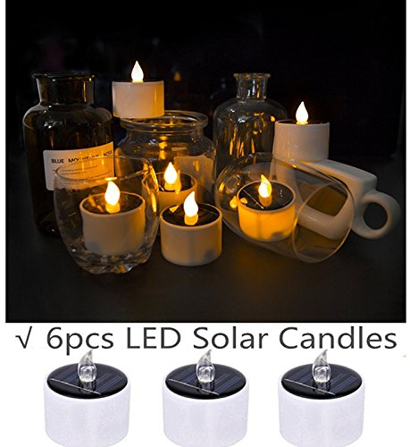 Flameless Candles Led Candles Tealight Candles Solar Candles, COUTUDI Warm White Faux Tea Light with Realistic Flicker for Wedding Patio Home Bar Party, Batteries Included 6 Pack