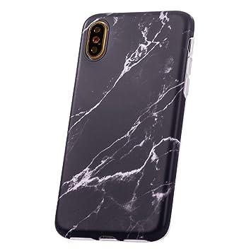 QULT Carcasa para Móvil Compatible con iPhone XR Funda marmol Negro Silicona Flexible Bumper Teléfono Caso para iPhone XR Marble Black