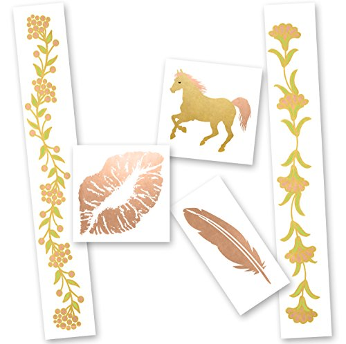 PRETTY IN PINK VARIETY SET of 25 assorted Premium waterproof metallic rose gold jewelry colorful temporary foil party tattoos- flower, bracelet, feather, kiss, pony, Flash tat, metallic tattoo by Flash Tattoos