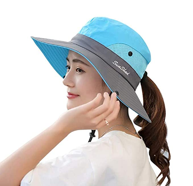 d8e3b11a Hats & Headwear Foldable Hat for Outdoor Beach Hiking Fishing Womens Summer Sun  Hat Wide Brim Hat with Pony Tail Hole UV Protection UPF 50 ...