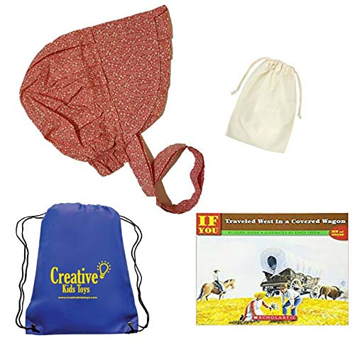 Little House on The Prairie Fun History Kit for Kids Calico Print Childs Medium Sun Bonnet with Purse and Book Costume for Kids ~ Bonnet Colors Will Vary ~ -