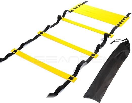 Escalera de agilidad con bolsa de transporte, escalera ajustable para entrenamiento, para entrenamiento de MMA Crossfit, fútbol, baloncesto, equipo de fitness, saltos deportivos, tamaño 10 Rungs: Amazon.es: Deportes y aire libre