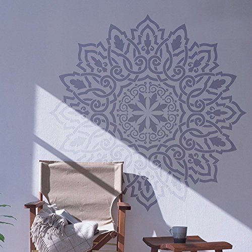 Arabic Mandala Wall Stencil for Painting - Expedited 3 days Delivery - Arabic Mandala Wall Accent - Reusable Template - Large Mylar Washable Plastic - Repeatable Pattern for Bedroom Wall Décor