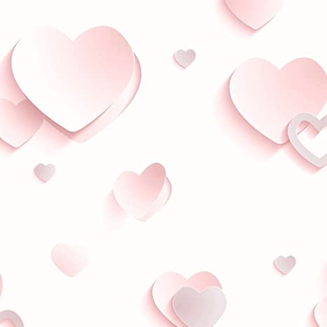 3d Hearts Glitter Wallpaper Pink J92603