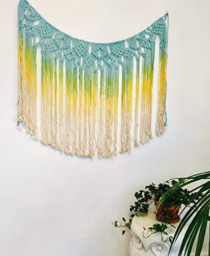 (Boho Decor Macrame Wall Hanging Tassel Tapestry for Living Room, Bedroom, Kitchen | Baby Decorations for Nursery Wall Décor | Boho Curtain Wall Décor (47w x 31