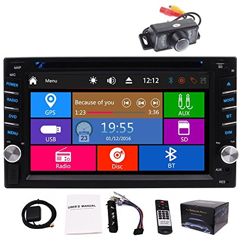 Car Autoradio Stereo Headunit CD DVD Player 6.2inch Touch Screen Bluetooth GPS Navigation System Auto Radio FM AM MP3 Car GPS Stereos Free Backup Camera Map Card ()