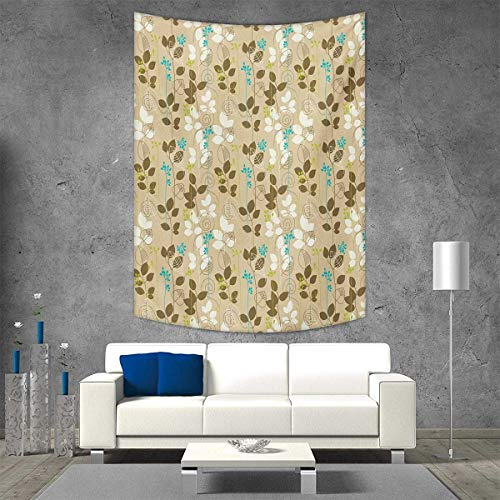 smallbeefly Autumn Wall Tapestry Retro Fall Leaves Earth Tones Foliage Field Gardening Yard Cottage Pattern Home Decorations Living Room Bedroom 54W x 84L INCH Army Green Tan Blue