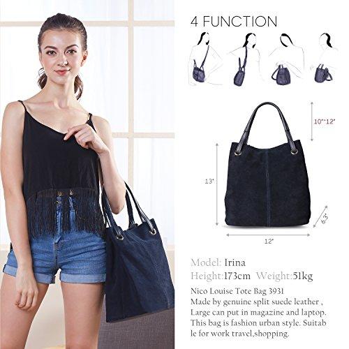 Bag Genuine Blue Handbag Suede Navy Purse Women's k0lmA0hDKie Shoulder Tote Casual Leather Nico qFB0g1nn