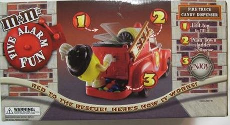 M &M Candy Dispenser Fire Truck Rare Red and Blue M&M