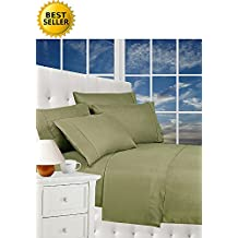 Best Seller Luxurious Bed Sheets Celine Linen 1800 Thread Count Egyptian Quality Wrinkle Free 4-Piece Sheet Set with Deep Pockets 100% HypoAllergenic, Queen Sage/Green